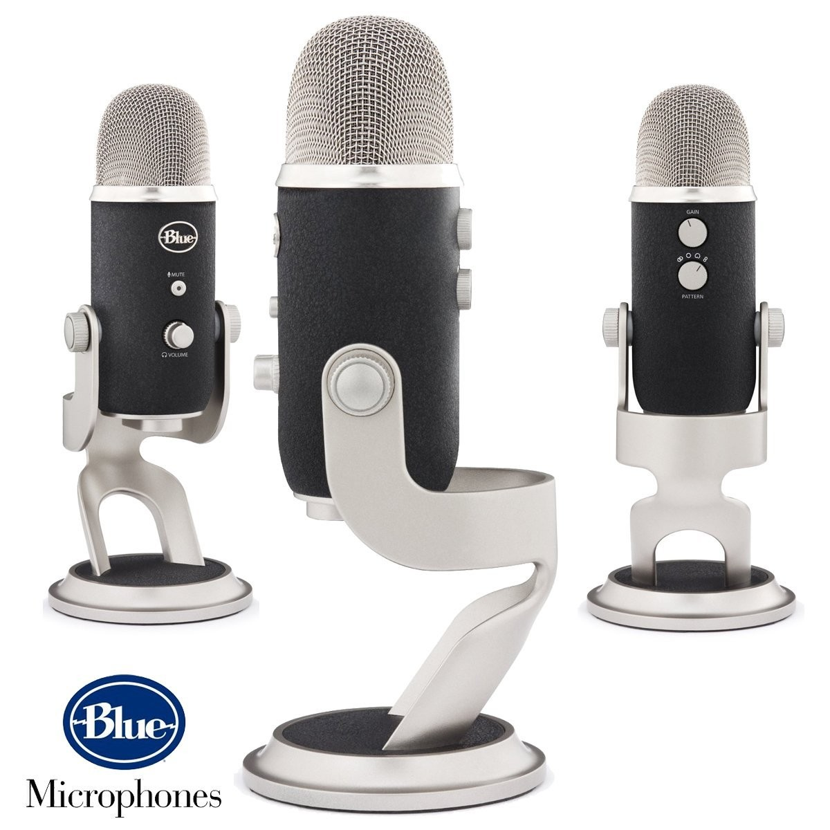 Blue Microphones Yeti Pro Multipattern+ Boom Microphone Stand + Pop  Microphone Filter