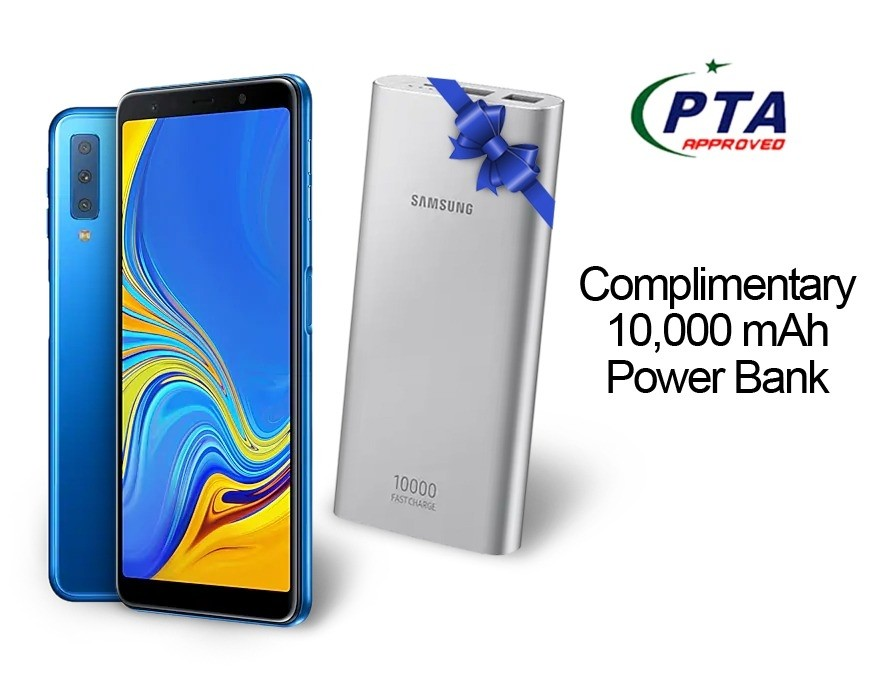 Samsung Galaxy A7 2018 128GB 4GB Dual Sim Blue (A750FD) - Official Warranty  With Power Bank