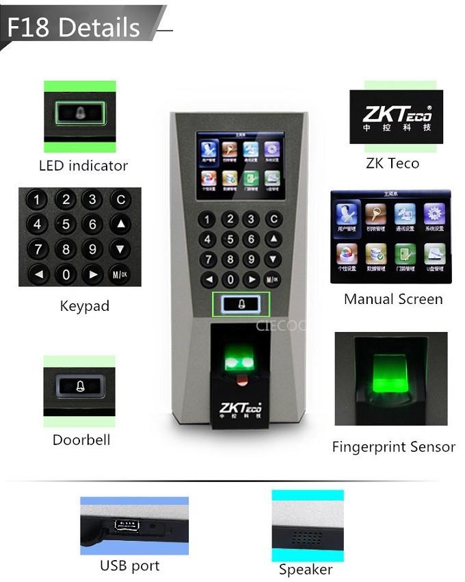 ZKTeco Biometric Fingerprint Access Control And Door Security System (F18)