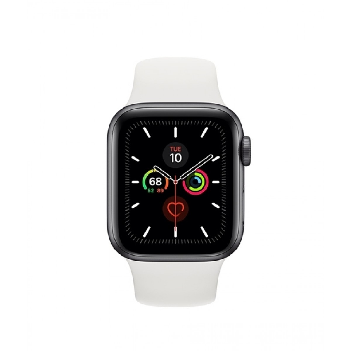 Apple Watch Series 5 44mm Space Gray Aluminum Case with White Sport Band - GPS