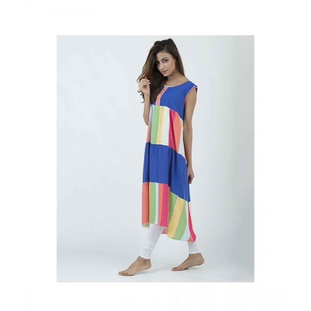 Asaan Buy Cotton Floral Print Sleeveless Night T-Shirt For Women - Blue