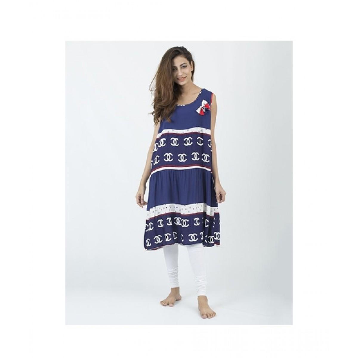 Asaan Buy Cotton Floral Print Sleeveless Night T-Shirt For Women - Dark Blue