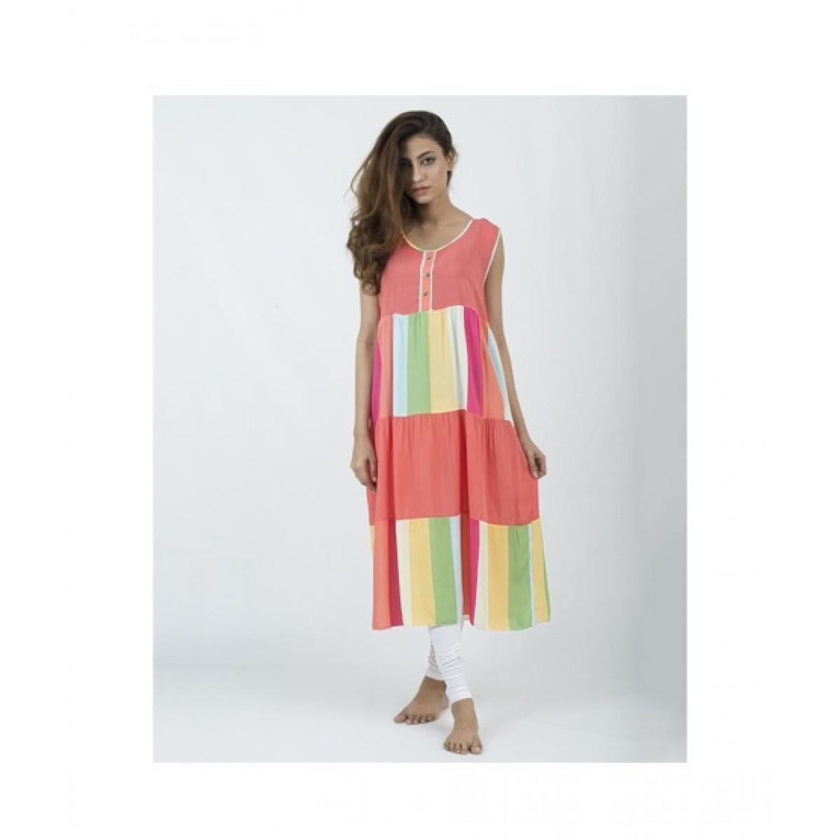 Asaan Buy Cotton Floral Print Sleeveless Night T-Shirt For Women - Orange