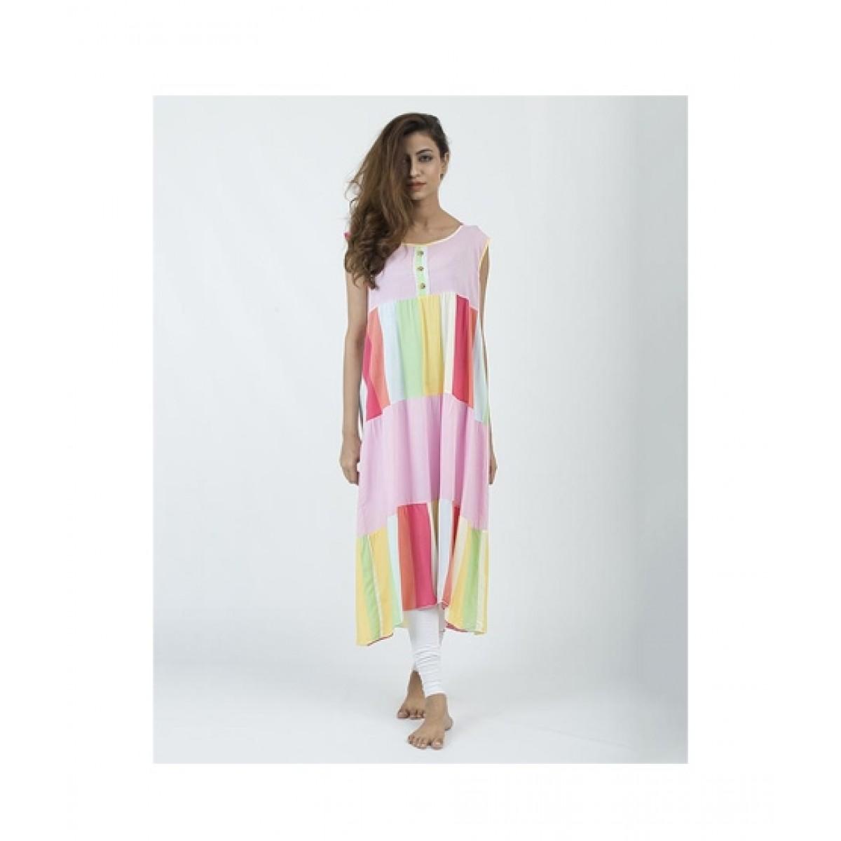 Asaan Buy Cotton Floral Print Sleeveless Night T-Shirt For Women - Pink