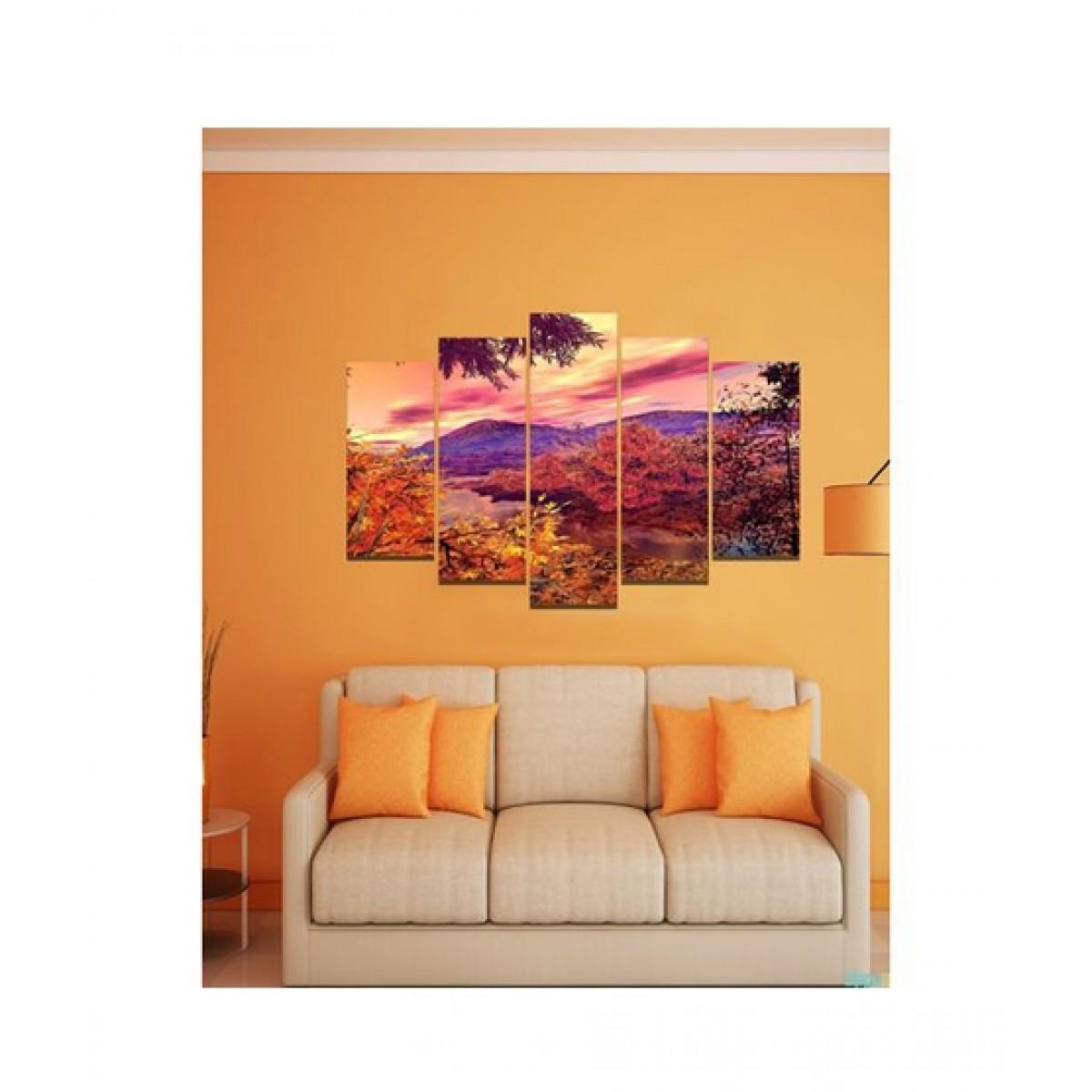 BednShines Digitally Printed Canvas Wall Frames Set Of 5 (EI-0233)