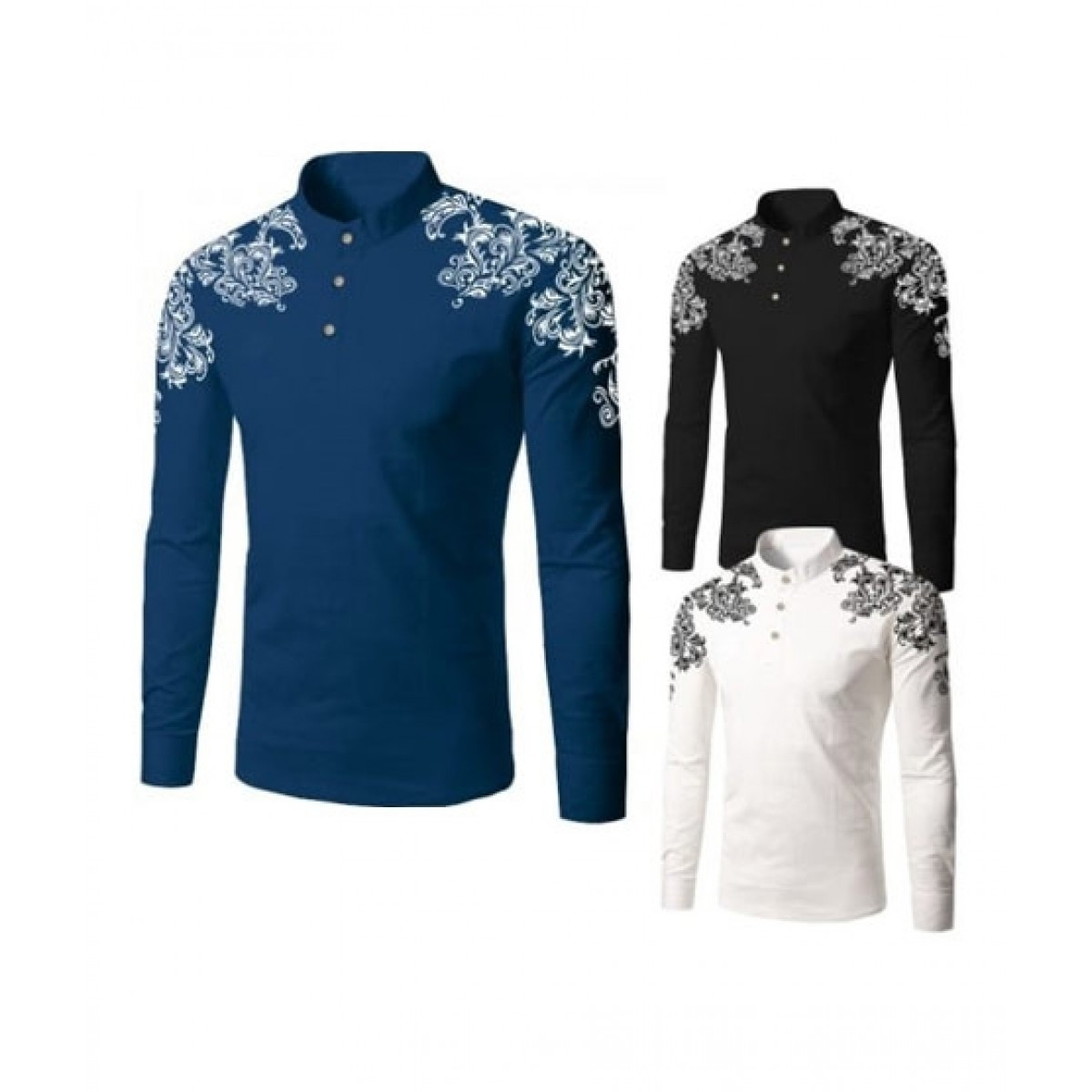Bin Rizwan Collections Shoulder Printed Full Sleeves T-Shirt - Pack of 3
