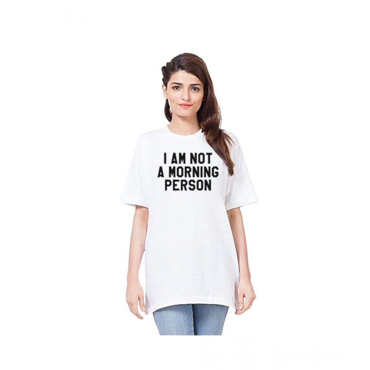 C-Tees I Am Not A morning Person Print T-Shirt For Women White (CKT10238)
