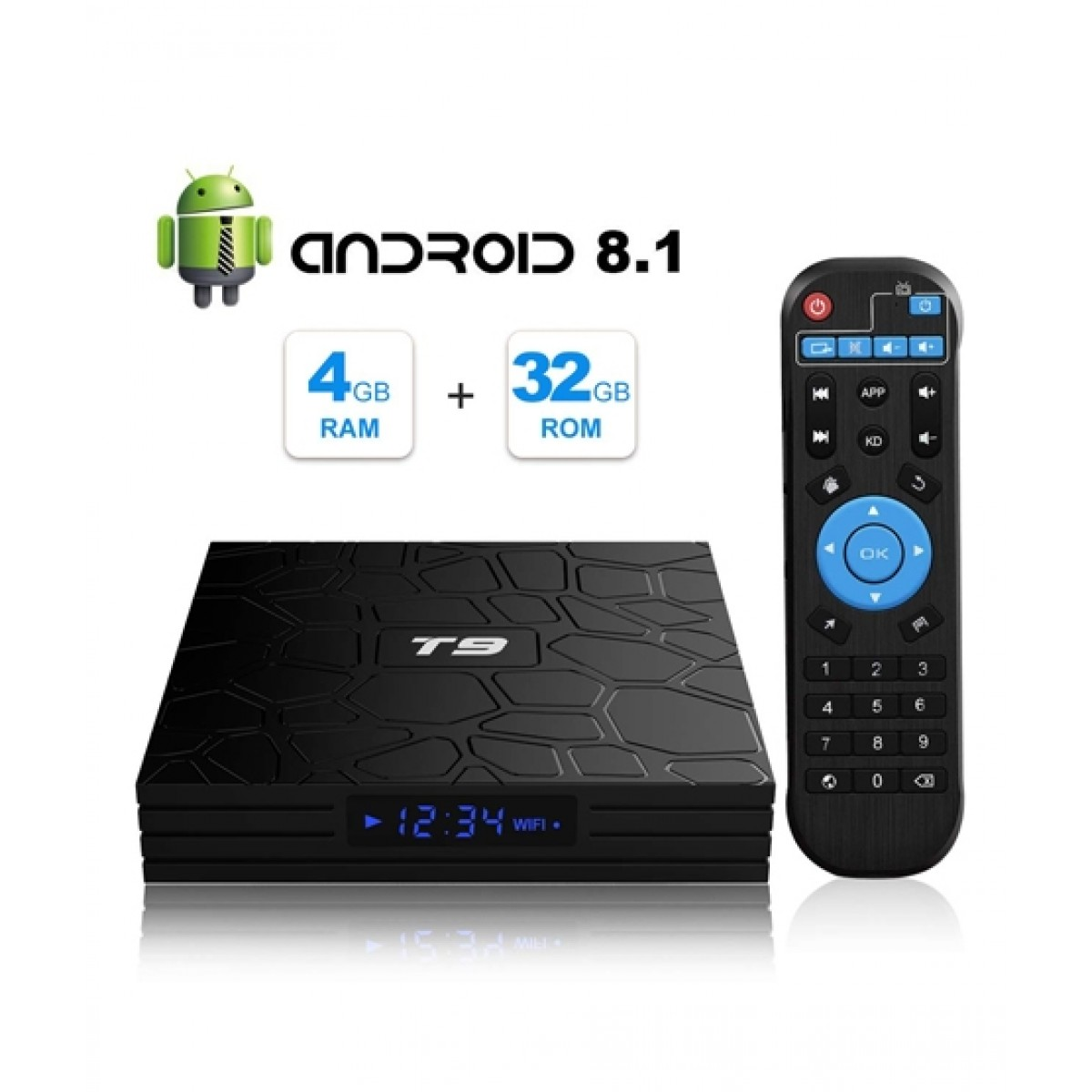 Cool Boy Mart T9 4K 3D Ultra HD 4GB 32GB Android 8.1 TV Box (RK3328)