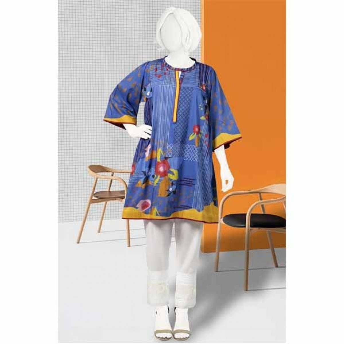 Diners Summer Collection Delux Unstiched Shirt Blue (WU10038)