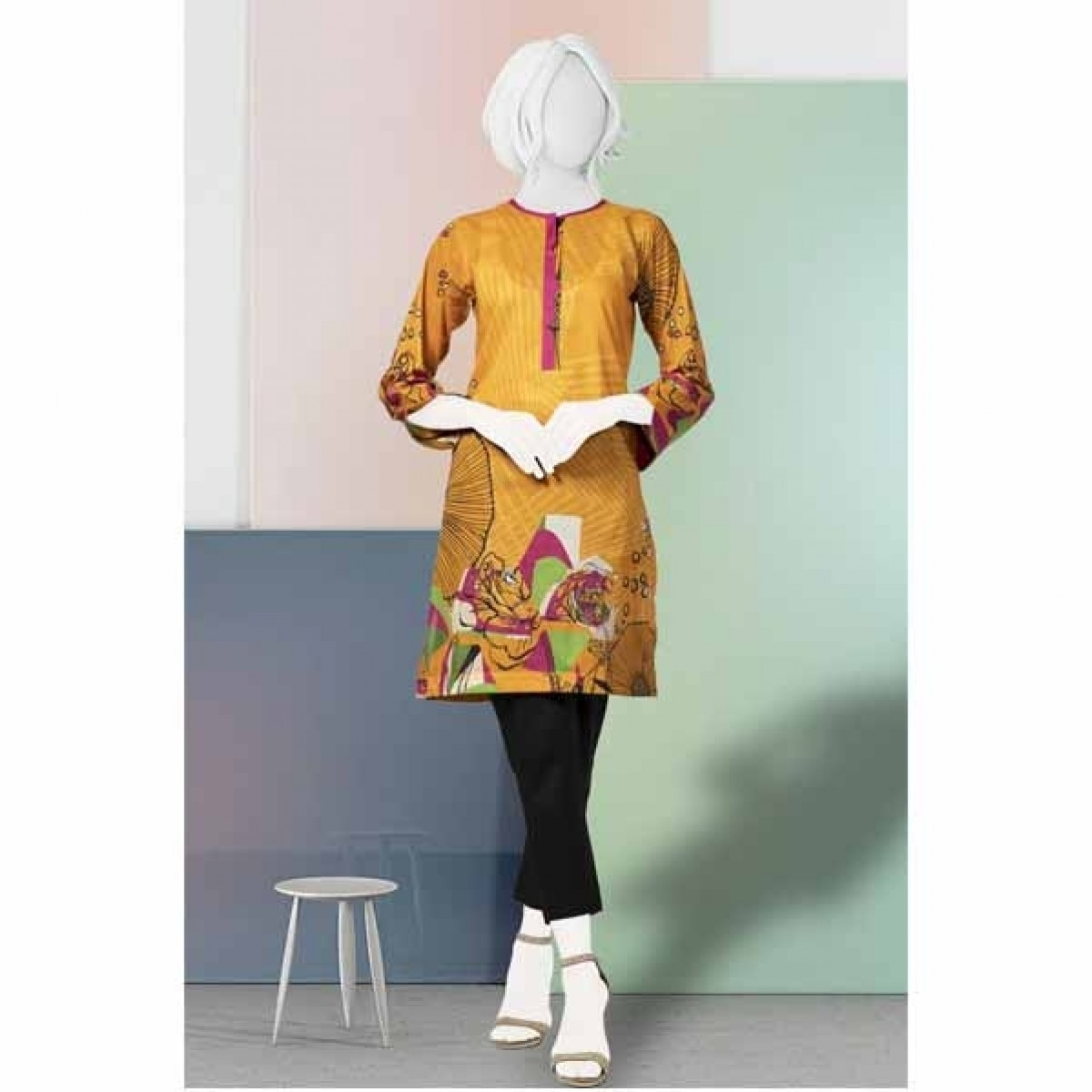 Diners Summer Collection Delux Unstiched Shirt Orange (WU10034)