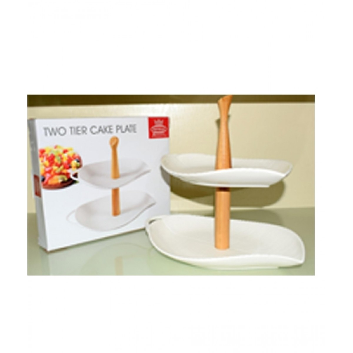 Easy Shop 2 Tier Cake Stand With Bamboo Stick White