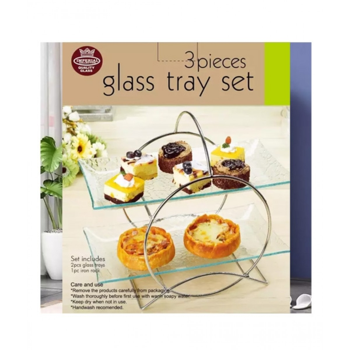 Easy Shop Glass Tray And Stainless Steel Stand Serving Set