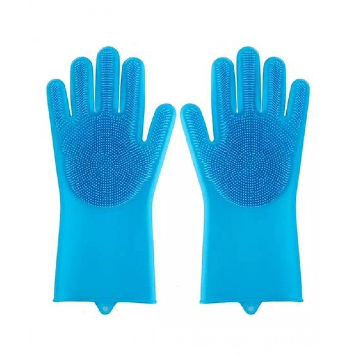 Eshall Magic Dish Washing Gloves with Scrubber Blue