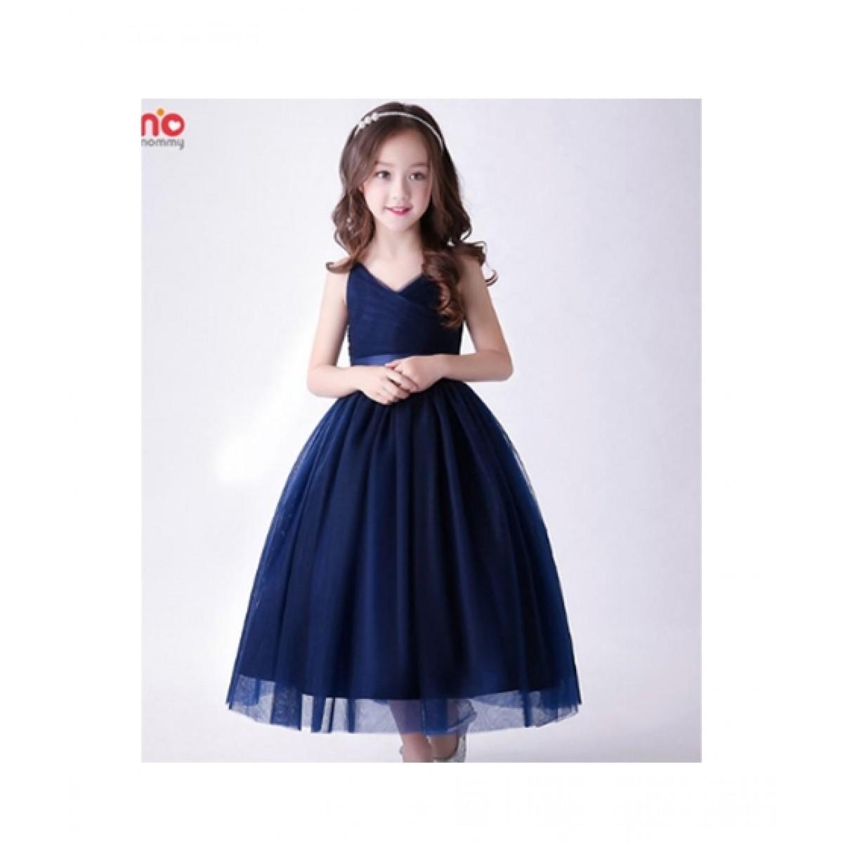 Fashionvalley Elegant Wedding Dress For Girl Navy Blue