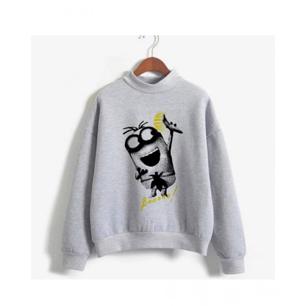 He & She Banana Printed Sweat Shirt For Unisex Grey (0019)