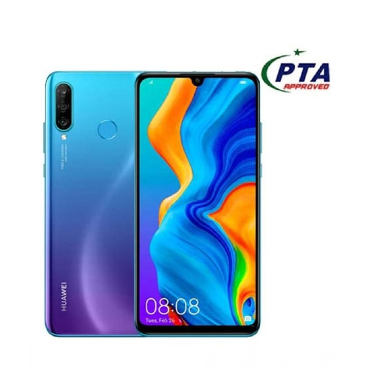 Huawei P30 Lite 128GB 4GB RAM Dual Sim Peacock Blue - Official Warranty