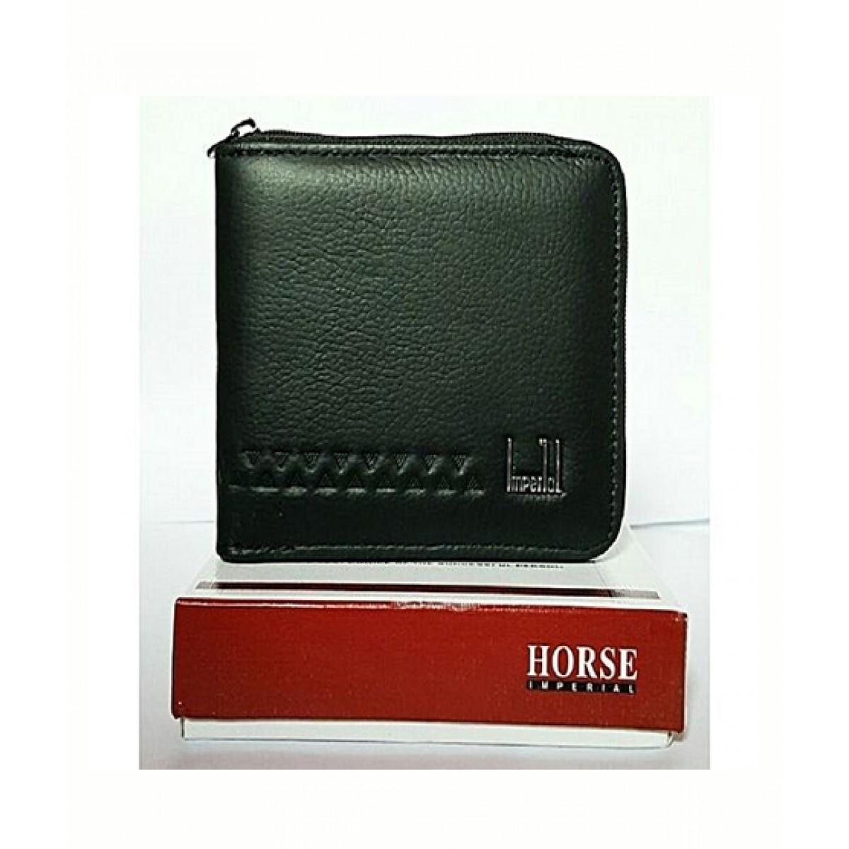 Imperial Horse Zipper Leather Wallet For Men Black