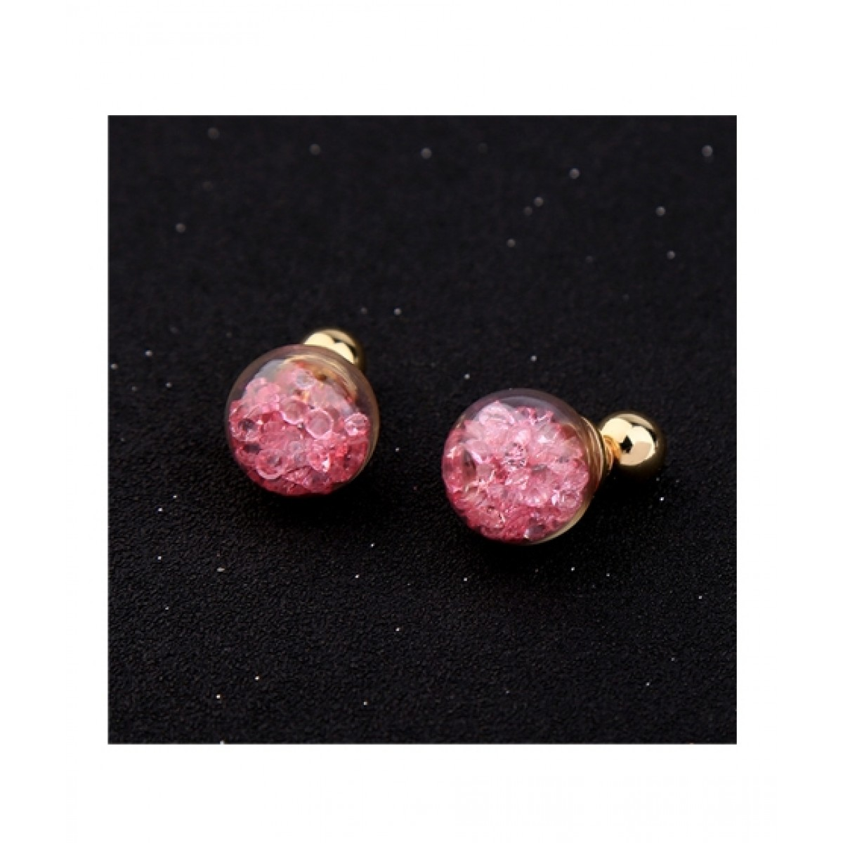 Jewelsgems Occident Small Star Beads Steel Ear Studs Pink For Women