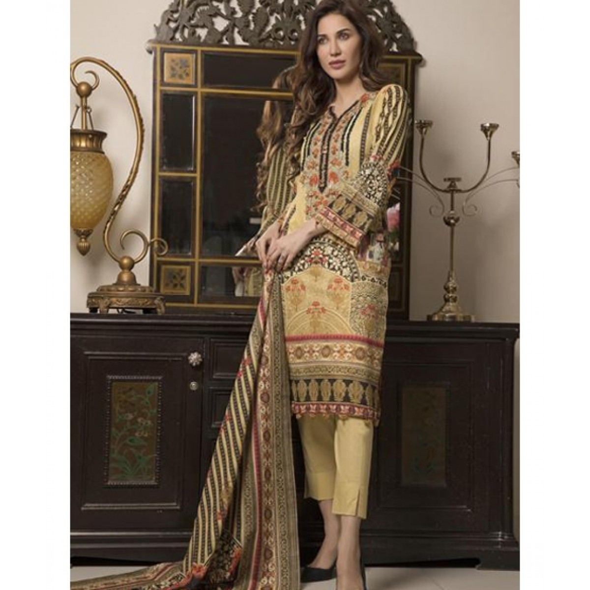 Khas Stores Crezare Embroidered Lawn For Women (KL-4054)