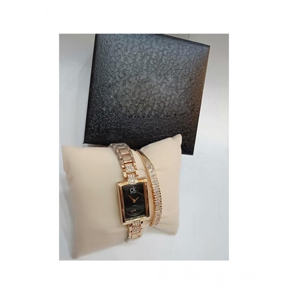 KK Accessories Watch & Bracelet For Women Rose Gold (0614)