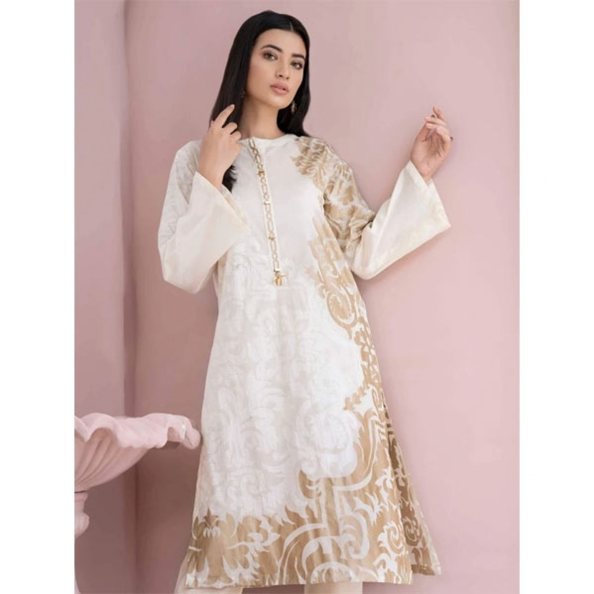 Limelight Unstitched Printed Lawn Shirt Off White (U1025SH-SSH-OWH)