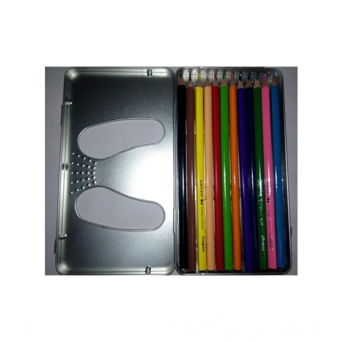 M Toys 12 Pcs Metal Casing Colour Pencils