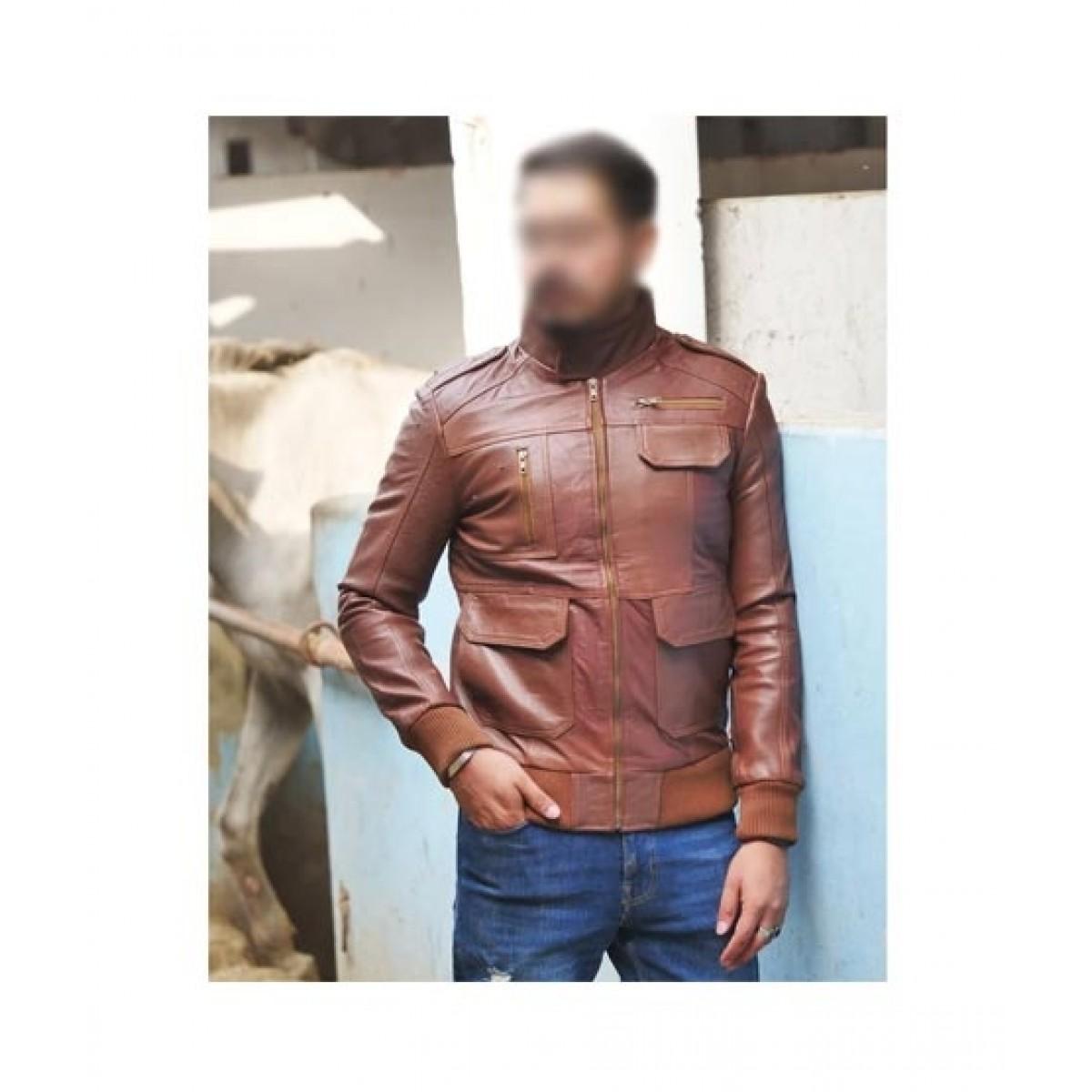 Mashriqi Bomber Ribbed Leather Jacket For Men Brown (SMQ-BR-01)