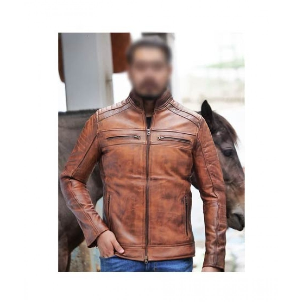 Mashriqi Wax Motor Bike Leather Jacket For Men (SMQ-WXB-01)