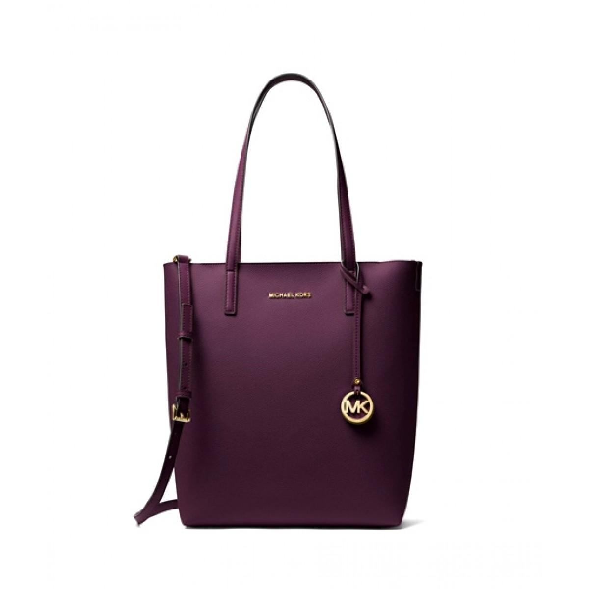 Michael Kors Hayley Large North South Top-Zip Tote Shoulder Bag Purple