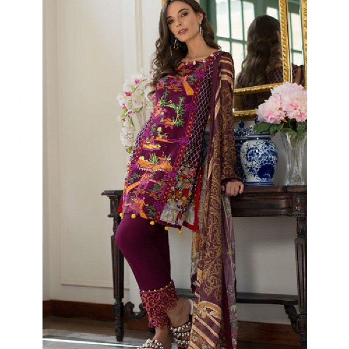 b2e1be16513c5 Monsoon Festivana Lawn Collection 2019 3 Piece (SS-2A) Price in Pakistan