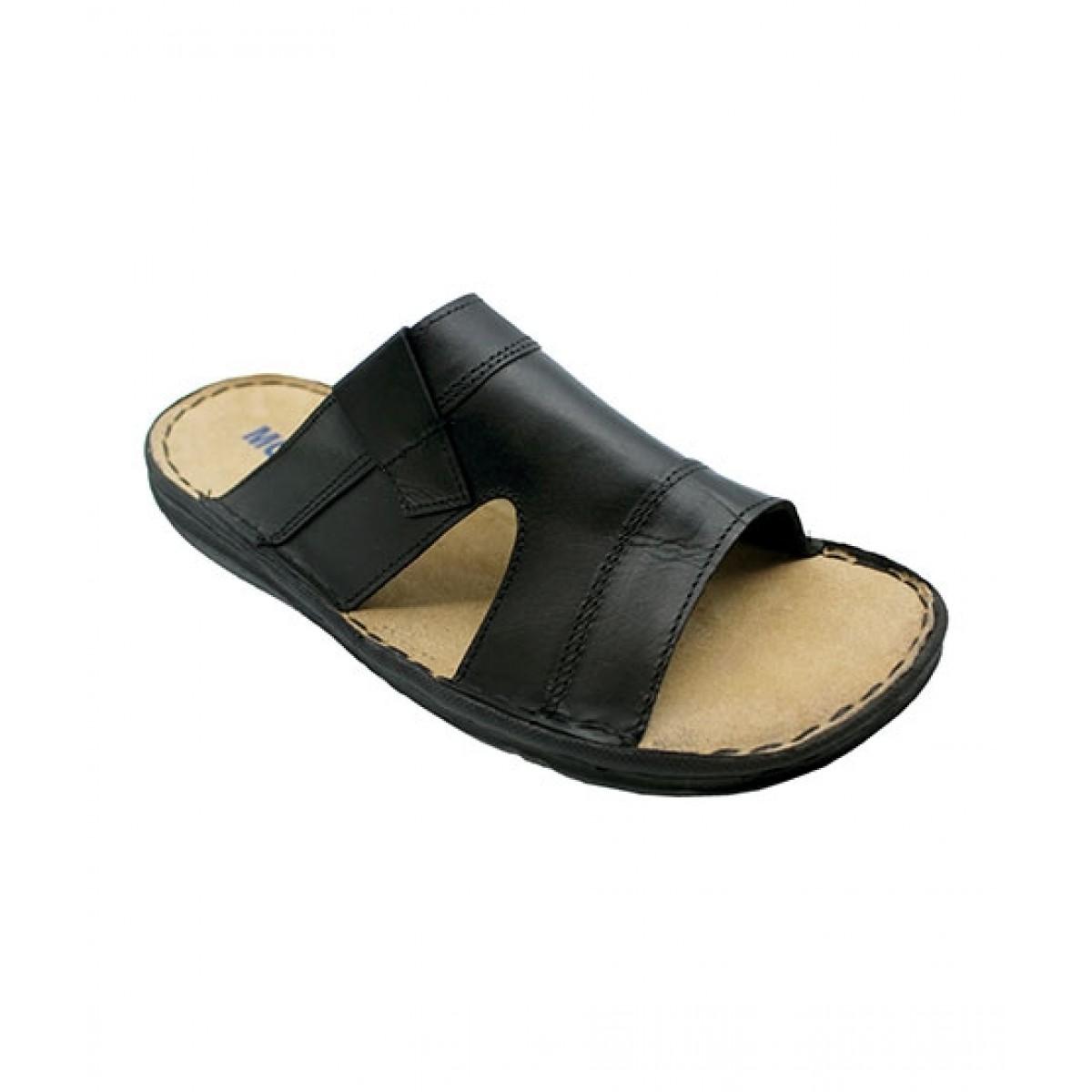 Mozax Casual Leather Slipper For Men Black (BK-243)