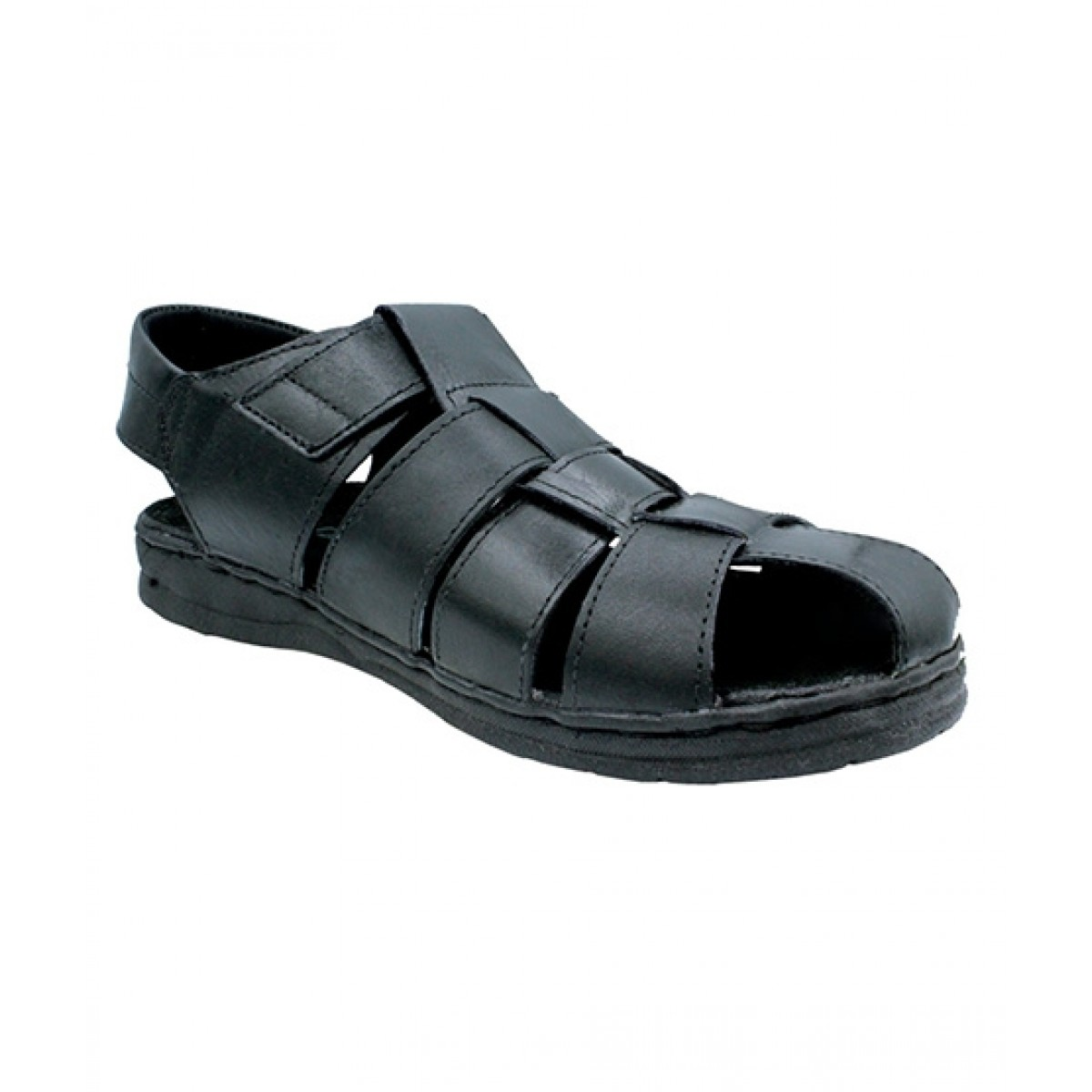 MOZAX Casual Leather Sandal For Men Black (0001)