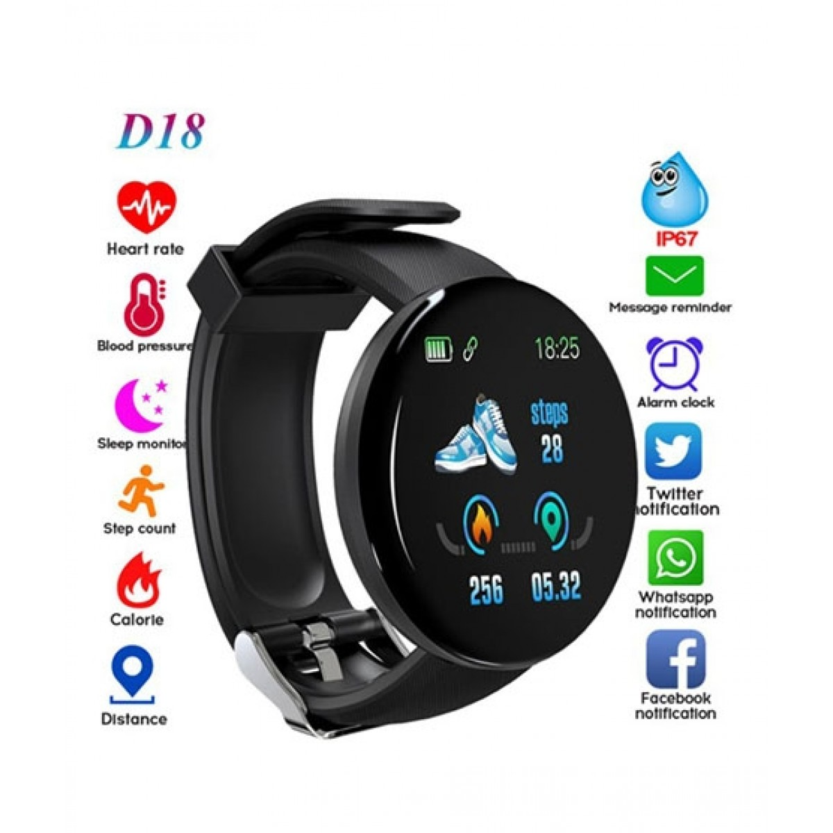 Muzamil Store D18 Smart Fitness Watch Black