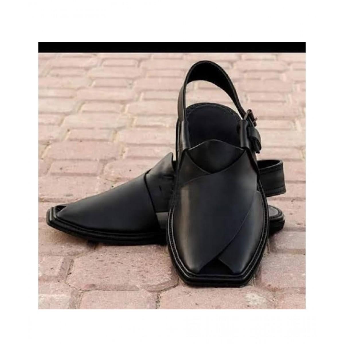 Nawabi Juta Leather Peshawari Sandal For Men Black (0009)