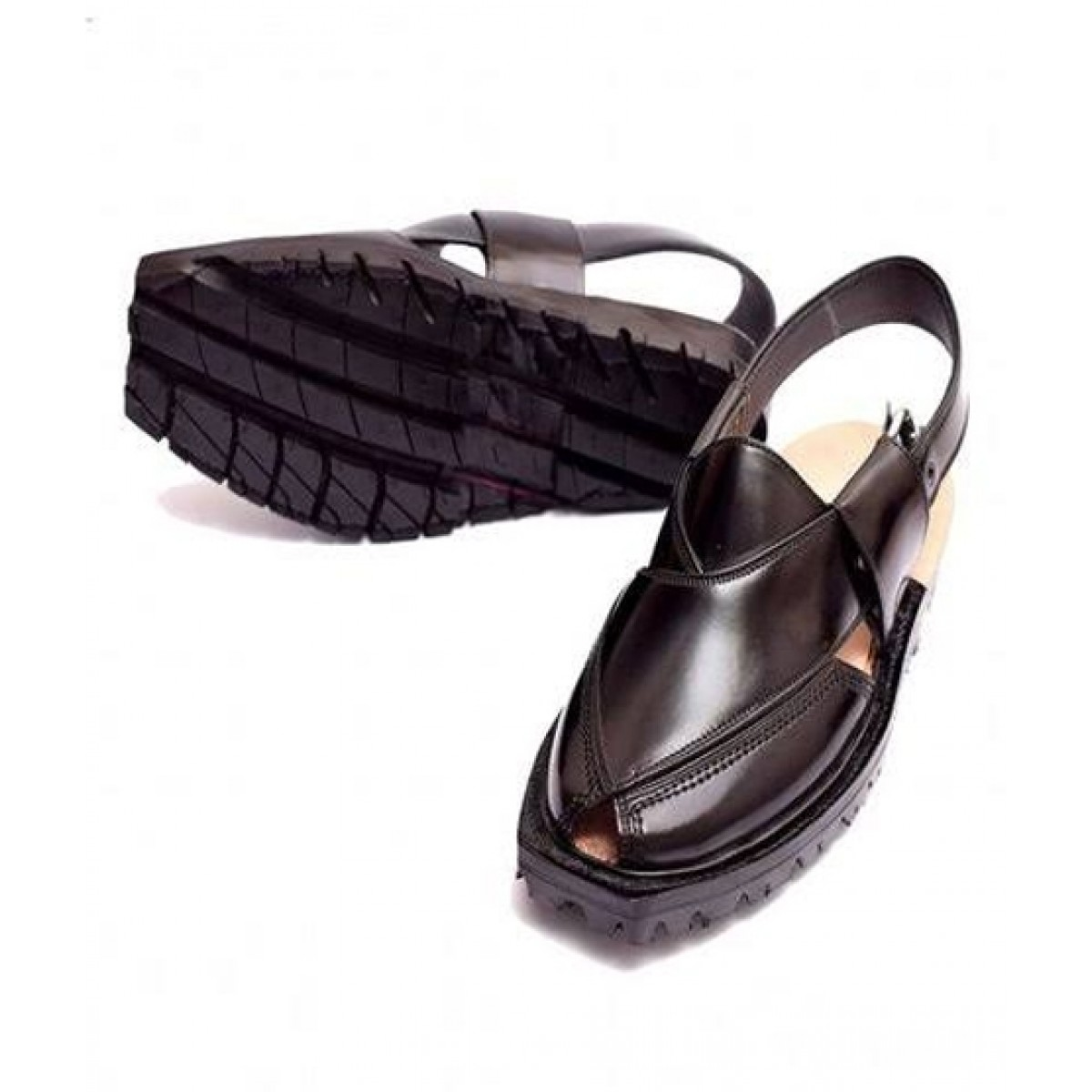 Nawabi Juta Upper Stitch Norozi Sandal For Men Black (0008)