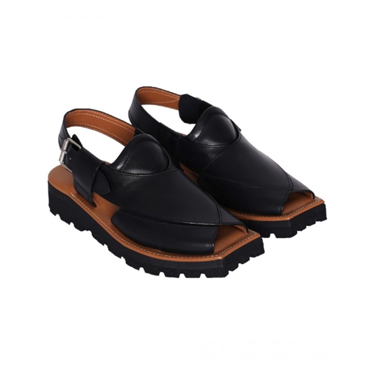 NOVADO Kaptaan Leather Peshawari Sandal For Men Black (0046)