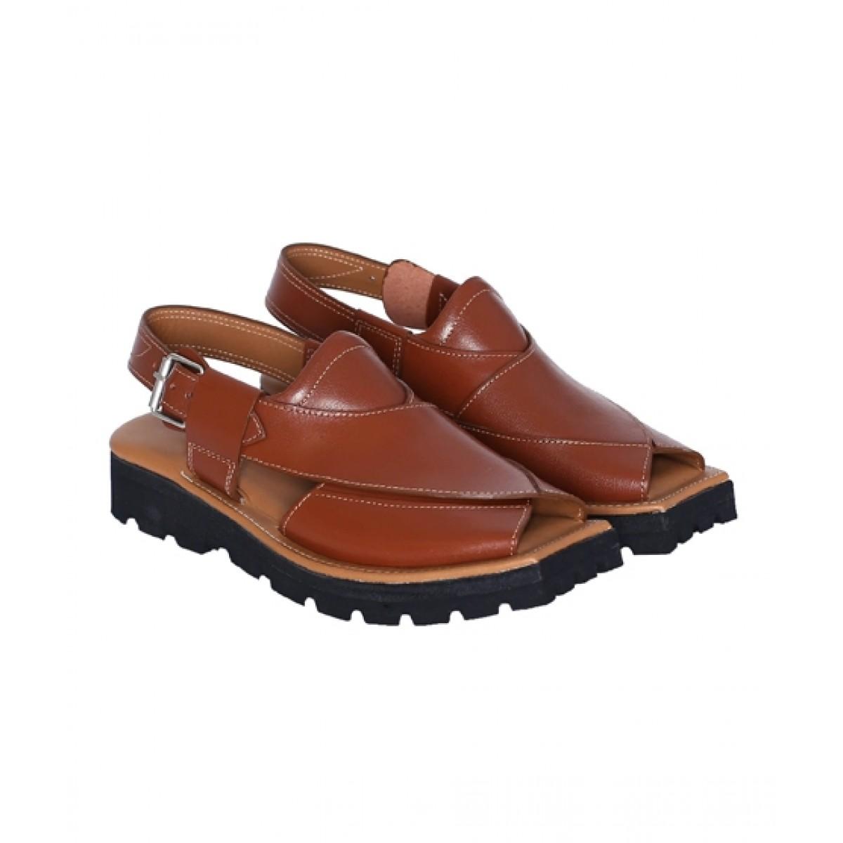 NOVADO Kaptaan Leather Peshawari Sandal For Men Cognac (0045)