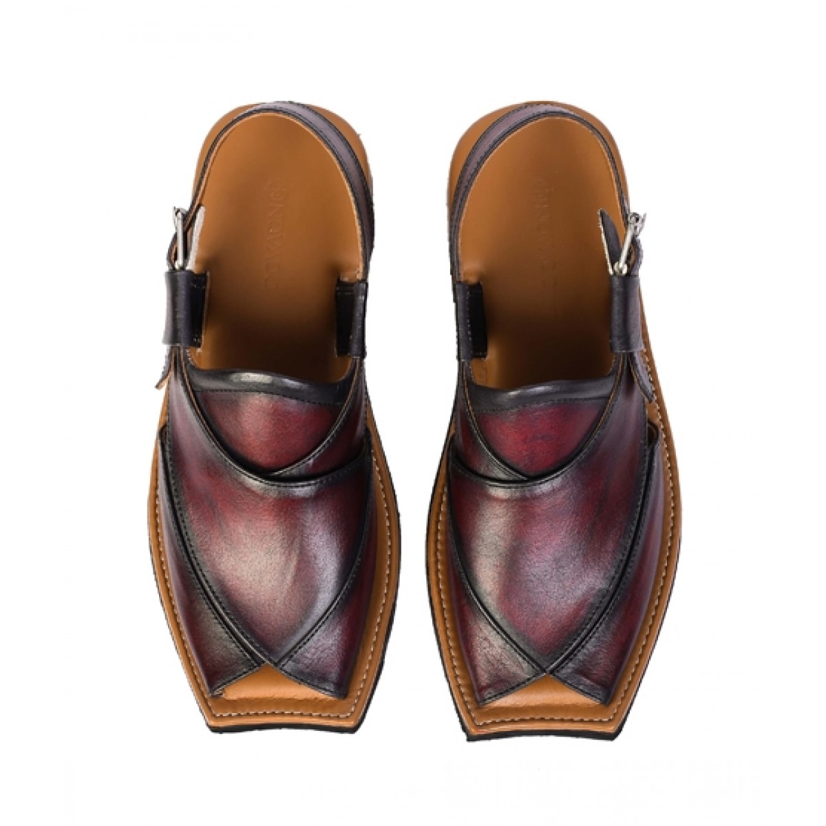 NOVADO Leather Peshawari Sandal For Men Cherry Red (0023)