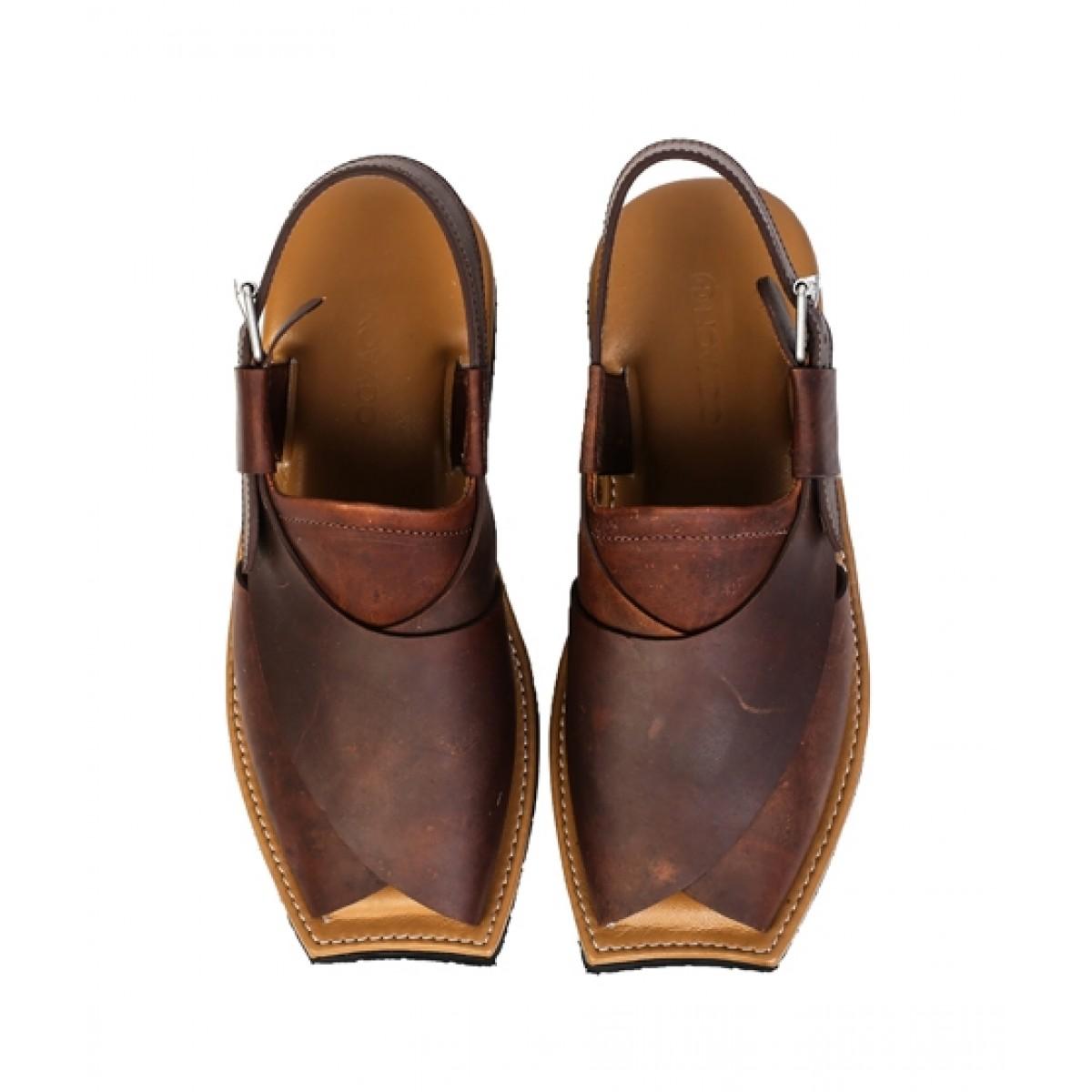 NOVADO Leather Peshawari Sandal For Men Vintage Brown (0019)