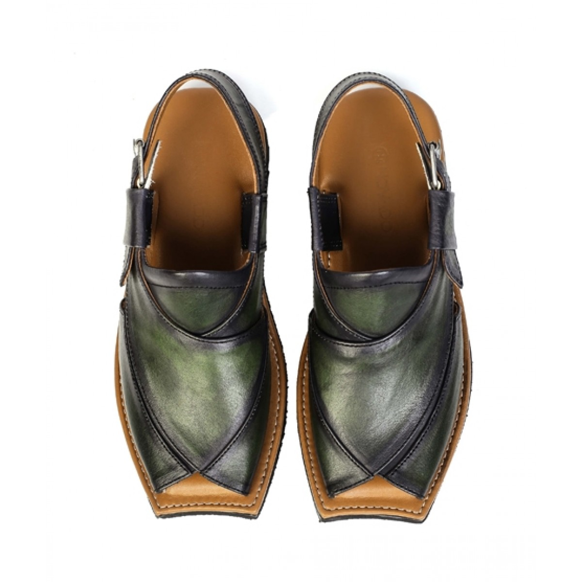 NOVADO Leather Peshawari Sandal For Men Watermelon Green (0021)