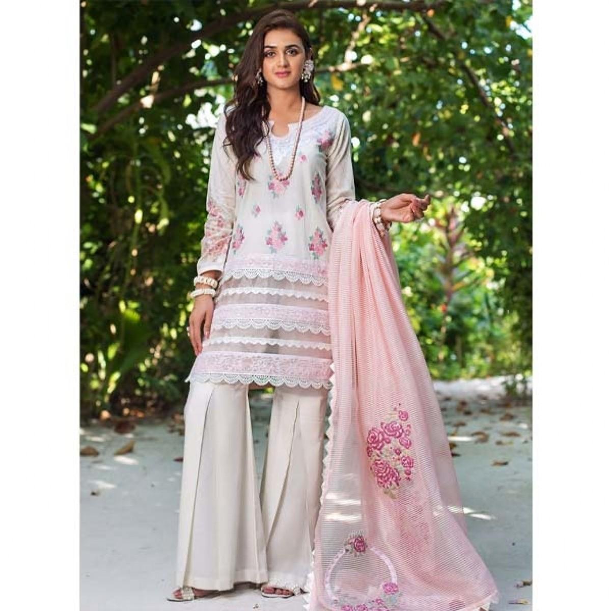 Zainab Chottani Luxury Lawn Collection 2020 3 Piece Vanilla Dust (03B)