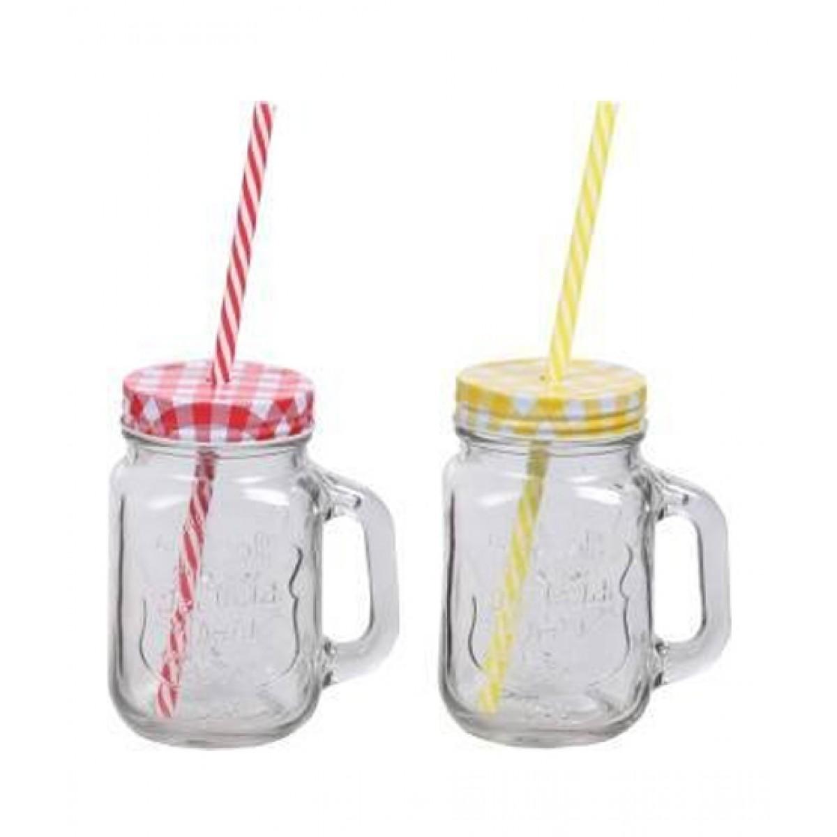 ORO Store Plain Mason Jar Mug with Lid & Straw - Pack Of 2