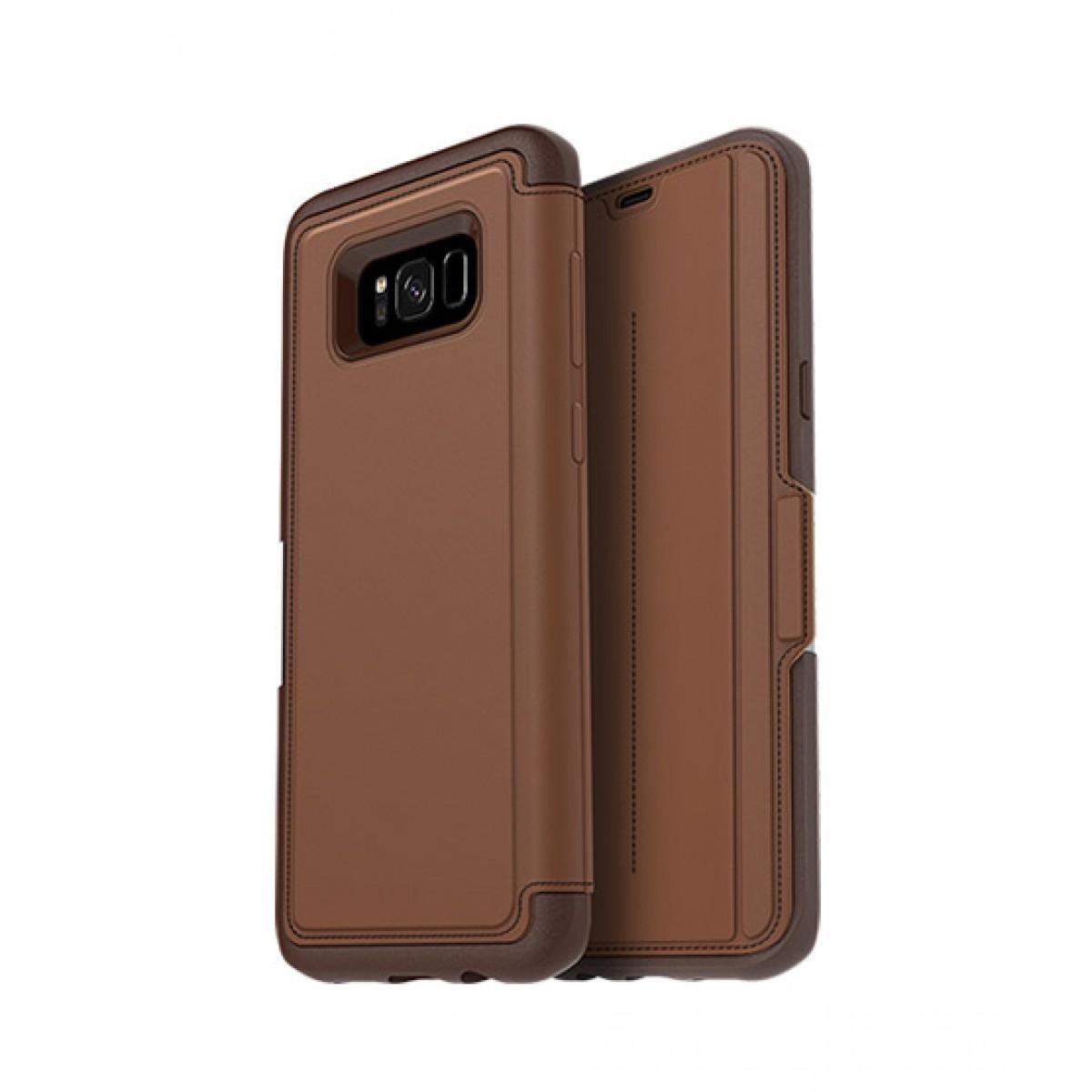 wholesale dealer d3fd2 c563d OtterBox Strada Series Leather Folio Burnt Saddle Case For Galaxy S8+