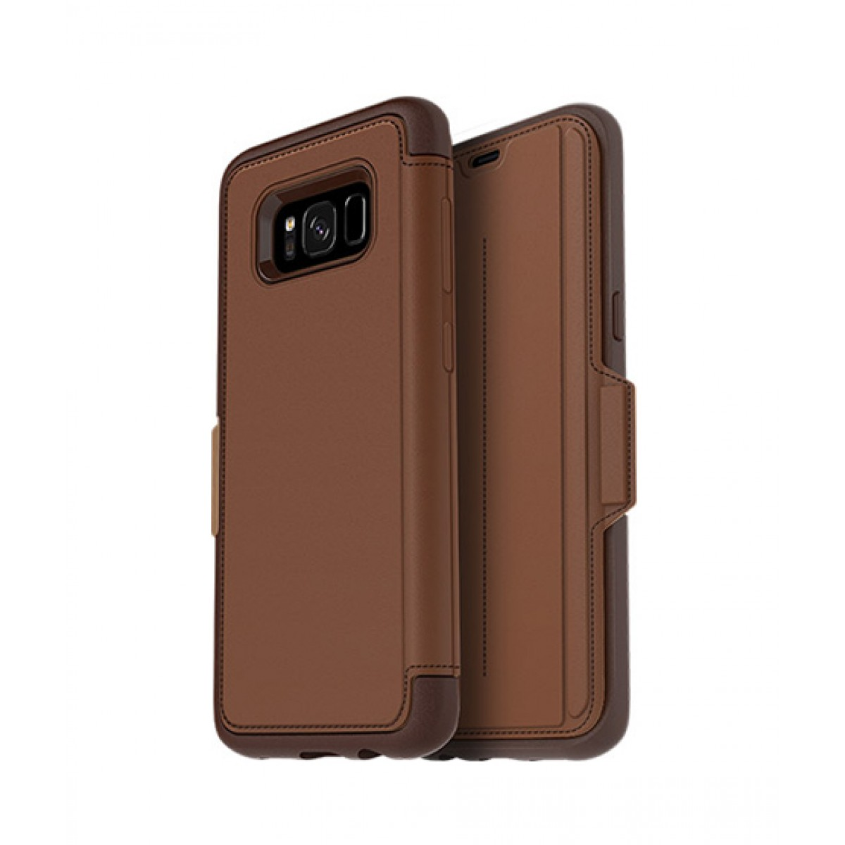 new products d4fde 6a167 OtterBox Strada Series Leather Folio Burnt Saddle Case For Galaxy S8