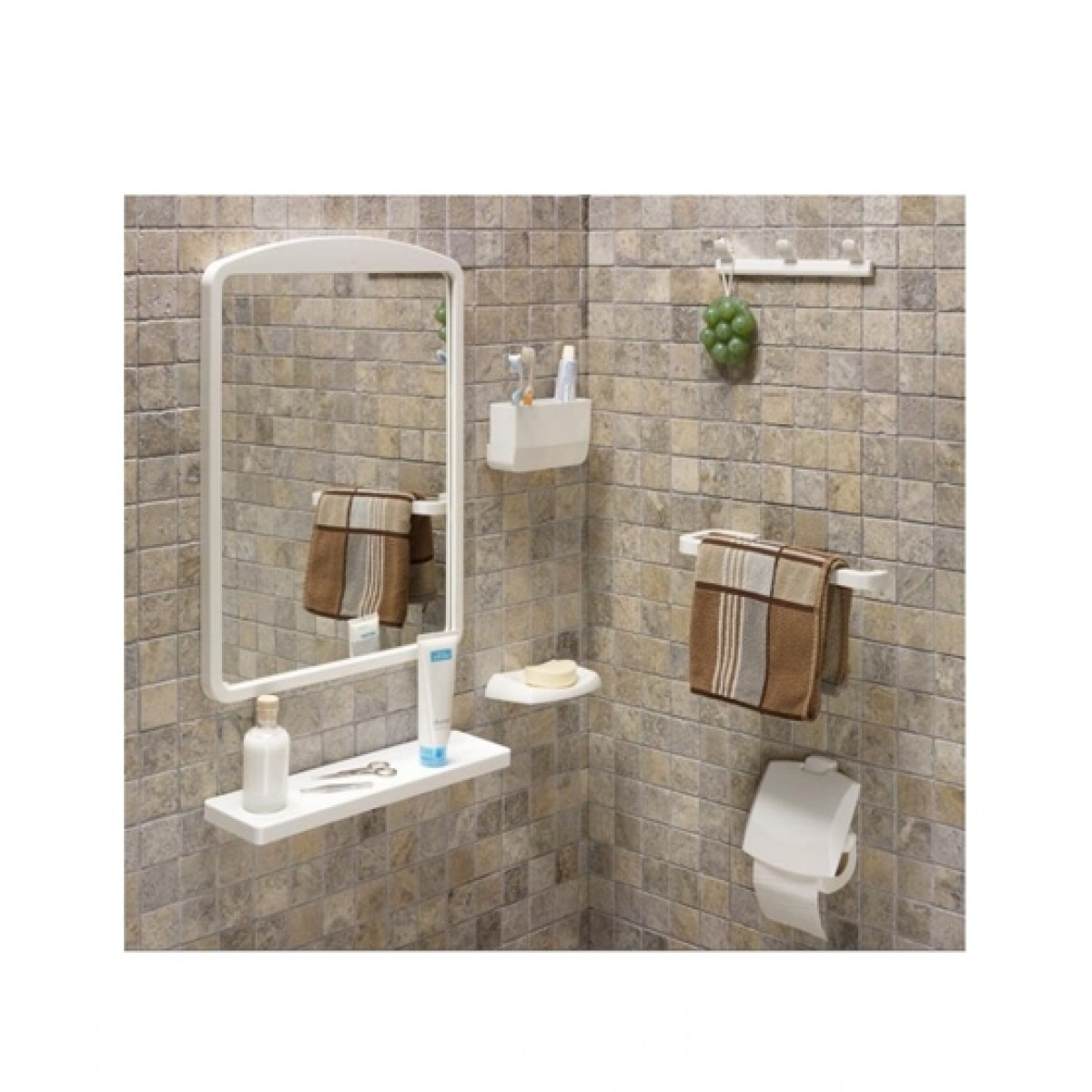 Primanova Bathroom Mirror Set 7 Pieces White (2801)