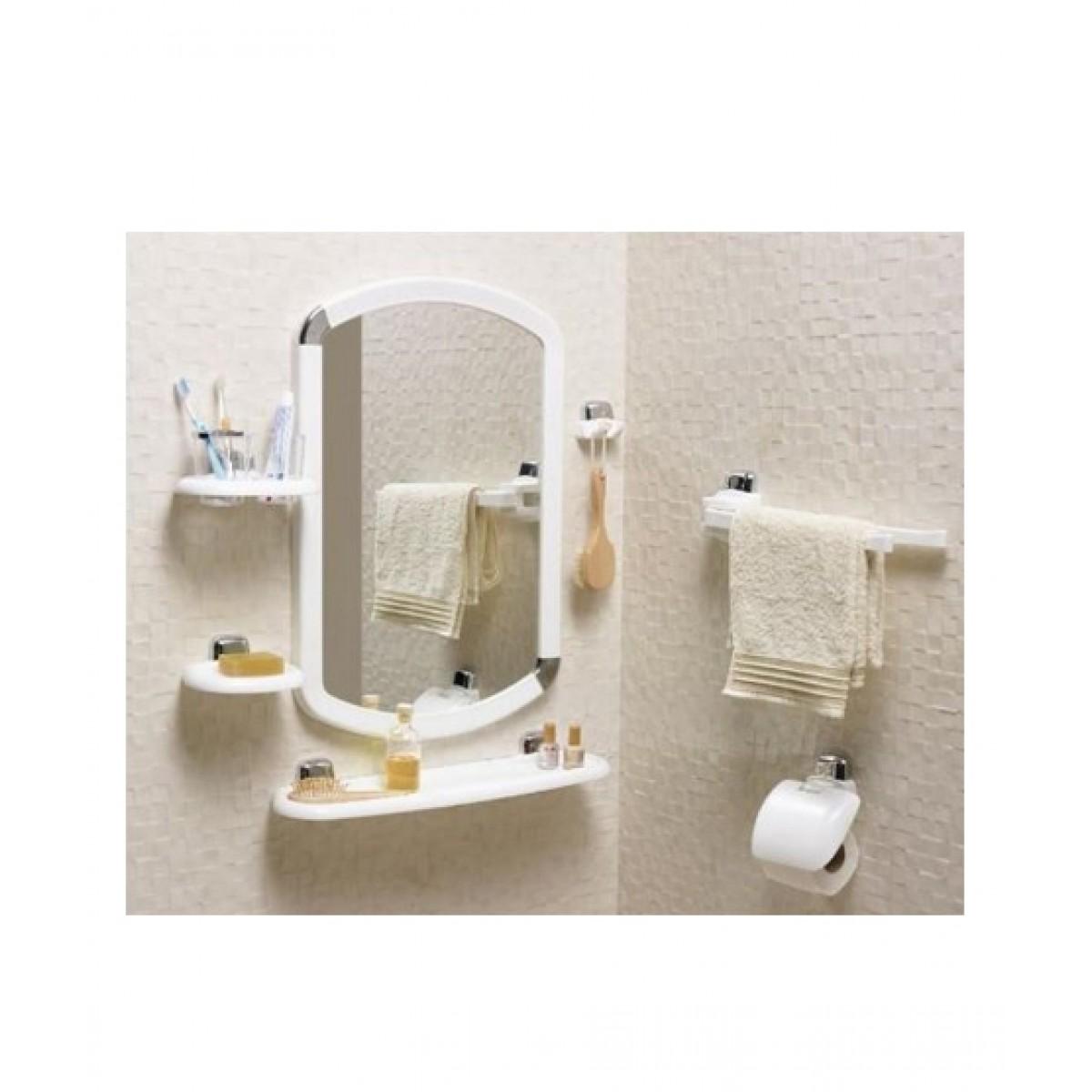 Primanova Bathroom Mirror Set 7 Pieces White (24010)
