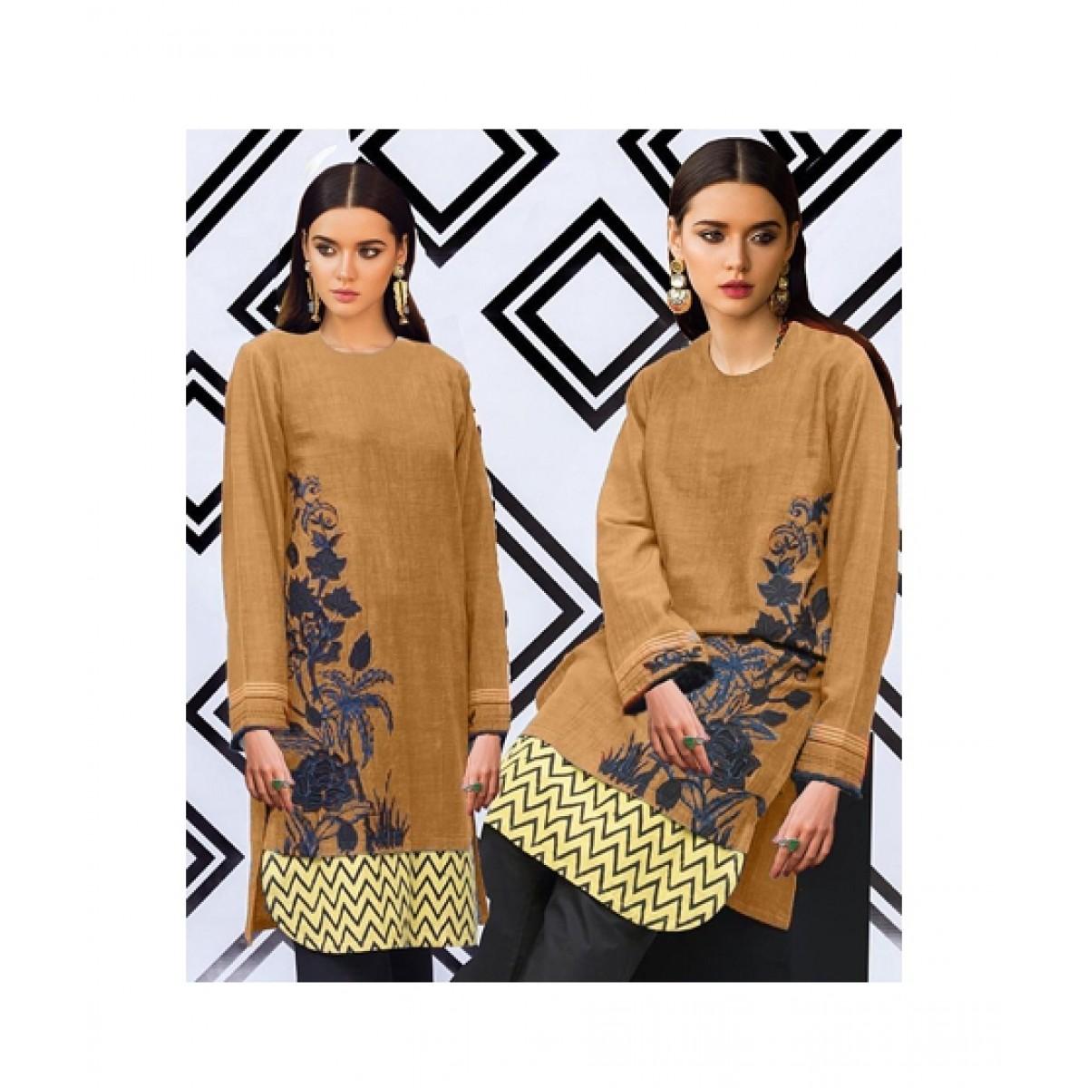 R&H Fashion Embroidery Kurti For Women - Brown