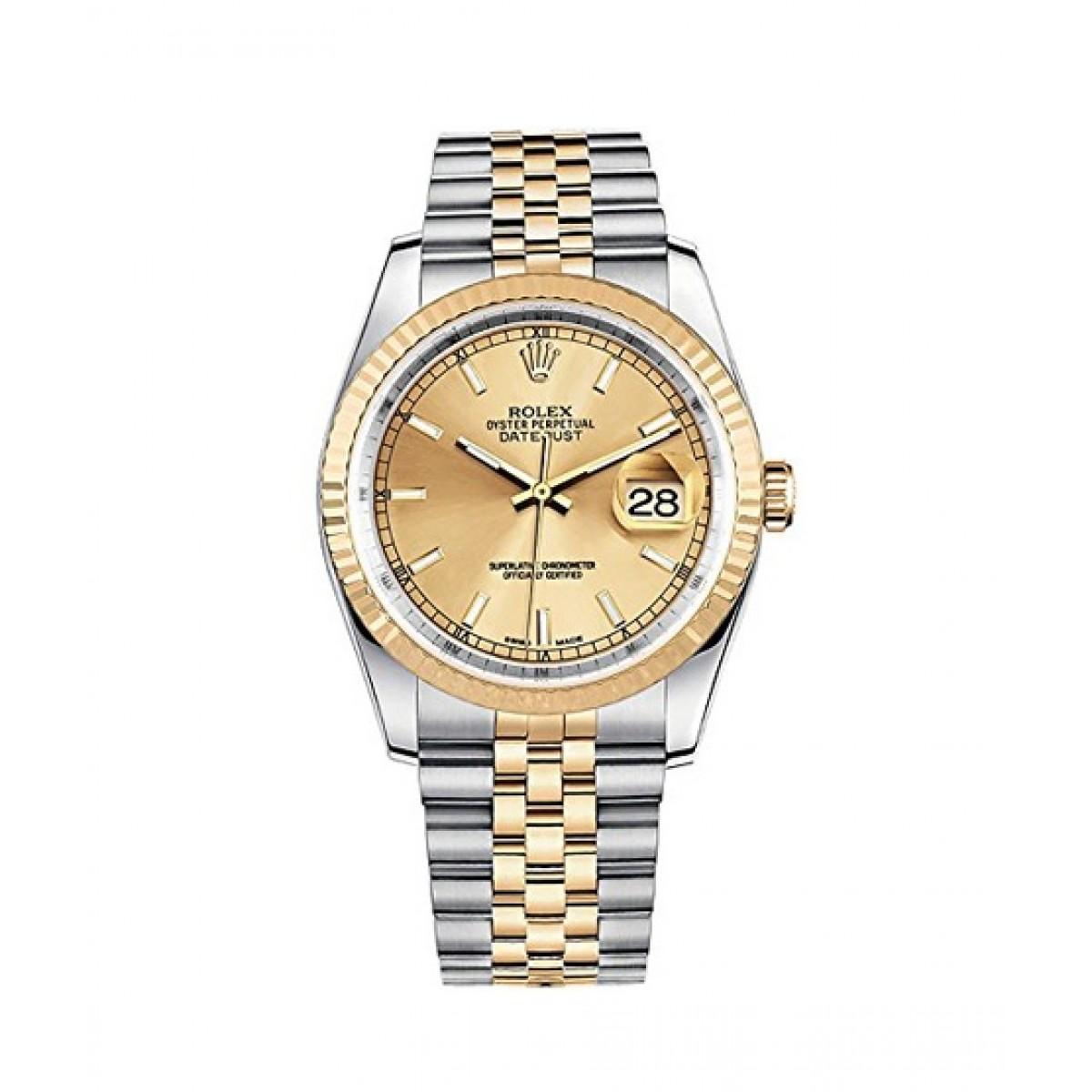 Rolex Datejust 36 Men\u0027s Watch Yellow Gold (116233,GLDSJ)
