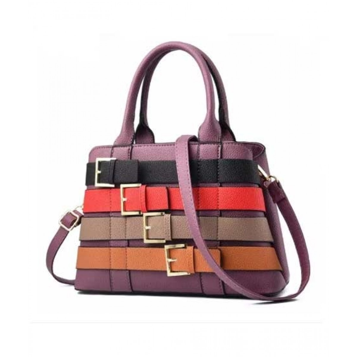 Saad Collection PU Leather Hand Bag For Women - Purple