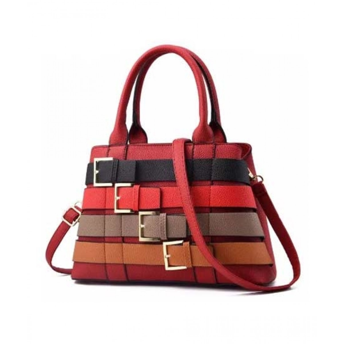 Saad Collection PU Leather Hand Bag For Women - Red
